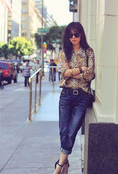Love the animal print with the boyfriend fit jeans and belt. Boyfriend Fit Jeans, Boyfriend Style, 2014 Fashion Trends, Nyc, Autumn Winter Fashion, Spring Fashion, Passion For Fashion, Style Me, Street Style