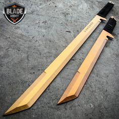 "2PC 27"" & 18"" NINJA GOLD SWORD SET Samurai Machete COMBAT FANTASY KNIFE Sheath"