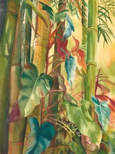 """Original watercolor painting titled """"Bamboo Love"""" of bamboo and heart shaped leaves painted in Maui Tropical Colors, Tropical Leaves, Watercolor Plants, Watercolor Paintings, Pastel Art, Portrait Art, Botanical Prints, Maui, Drawings"""