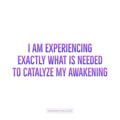Todays Mantra: I AM experiencing exactly what is needed to catalyze my Awakening. #iam #iammantra #mantra #awakening #trust #allow #affirmation #meditation #intention #prayer #vibration #lawofattraction #yoga