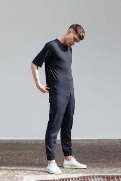 VON HUND Fashion & Design - Menswear Lookbook S/S16, Ove Box-Cut Tee in Black Cashmere & Midnight Blue Woolen Anzo Pants. Radical Price Transparency.  www.vonhund.com