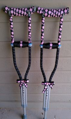 Decorated Crutches... My daughter wanted her crutches made over since the were ugly..This is what we came up with.