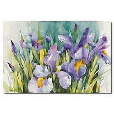 Stretched Canvas Art Floral Purple Irises by Annelein Beukenkamp – USD $ 19.99