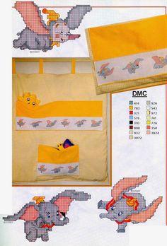 Cross Stitch Disney, Disney Cross Stitch Patterns, Cross Stitch For Kids, Cute Cross Stitch, Cross Stitch Designs, Cross Stitching, Cross Stitch Embroidery, Baby Dumbo, Elephant Cross Stitch