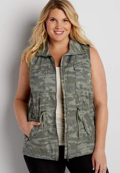 plus size anorak vest in camo | maurices