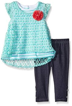 Nannette Little Girls 2 Piece Crochet Top and Legging Set…