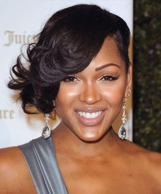 Meagan Good Short Wavy Formal Hairstyle - Black   TheHairStyler.com