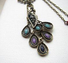 Bird Pendant Necklace Bronze Charm Peacock Floral Rhinestone