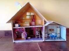Last week the kids had a four day weekend because of the semester break. Homemade Dollhouse, Four Day Weekend, Cardboard Crafts, Toddler Bed, Furniture, Home Decor, Child Bed, Decoration Home, Room Decor