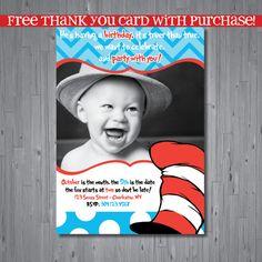 Dr seuss Birthday Invitation first birthday por AbbyReeseDesign, $15.00
