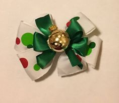"""Excited to share the latest addition to my #etsy shop: 4"""" Christmas Ornament Hair Bow #christmasbow #christmashairbow #theportalatinco #polkadotbow"""