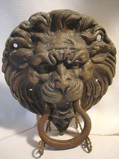 Vintage Very Large Brass Copper Ornate Lion Head Door Knocker   eBay