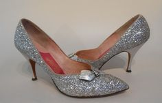 1950s Schiaparelli Silver Leather Glitter Gift Wrapped Pumps Heels Shoes