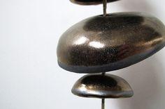 Mudpuppy Moon chimes organic hanging disc bells garden sculpture in gold - Half Stack