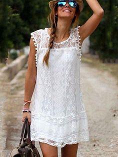 Vestido de verano de algodón de color liso