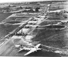 17 B-17 Fortresses from the 533rd Bomb Squadron line up for a mission at Ridgewell Essex England 1945.