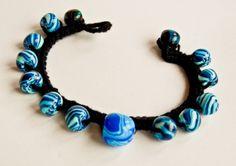 Blue Marbled Polymer Clay Bracelet Polymer Clay Bracelet, Turquoise Necklace, Bracelets, Blue, Jewelry, Jewlery, Jewerly, Schmuck, Jewels