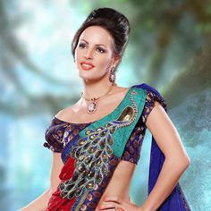 Maroon and Blue Jacquard Saree with Blouse