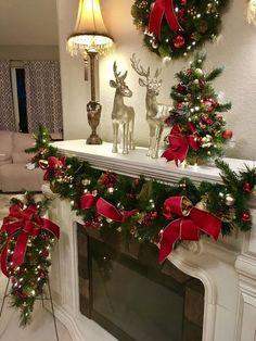 Christmas Staircase Decor, Indoor Christmas Decorations, Christmas Mantels, Noel Christmas, Christmas Wreaths, Christmas Crafts, Christmas Villages, Victorian Christmas, Decorate Fireplace For Christmas