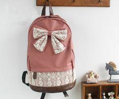 Women Canvas Lace Backpack BAG School BAG Tote BOW Handbag Campus Cute Bookbag | eBay