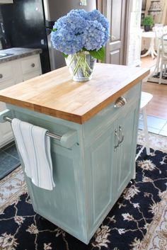 http://www.confessionsofaserialdiyer.com/rolling-kitchen-cart-makeover/#comment-21805 Rolling Kitchen Cart in Duck Egg Blue and Old White Mixed