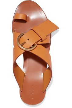 Chloé - Nils Textured-leather Sandals - Pastel orange - IT35.5