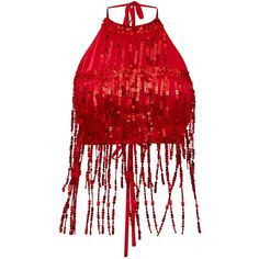 Red Sequin Tassel Crop Top (1.465 RUB) ❤ liked on Polyvore featuring tops, crop tops, sequin top, tassel top, red crop top and sequin crop tops
