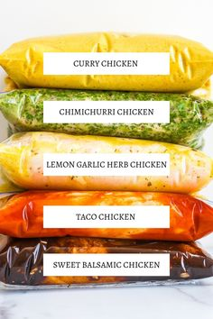 5 Easy Whole 30 Chicken Marinades - The Bettered Blondie 5 easy whole 30 chicken marinades that will help you rock your meal prep! These freezer friendly marinades are healthy and packed with flavor Marinated Chicken Recipes, Meat Marinade, Chicken Marinade Recipes, Chicken Marinades, Sauce Recipes, Keto Recipes, Cooking Recipes, Healthy Recipes, Whole Chicken Marinade