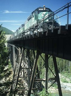 Burlington Northern train 84 on bridge at Java, Montana