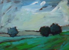 original landscape painting | blue and green day 2 | pamelam etsy