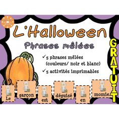 French resources for your French Immersion, Core French or Francophone class. Theme Halloween, Halloween Activities, Holiday Activities, Halloween Crafts, Teaching French Immersion, High School French, French Education, Core French, Teachers Corner