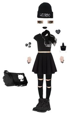"""""""Kinda goth"""" by elina-isaksen on Polyvore featuring Polo Ralph Lauren, Alice + Olivia, Timberland, Lacoste, Narciso Rodriguez, ncLA, women's clothing, women's fashion, women and female"""