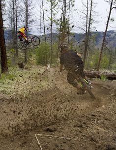 "einerundesache: "" Brandon Semenuk and Graham Agassiz ridin Kamloops. Pic by Solo Productions. Downhill Bike, Mtb Bike, Cycling Bikes, Mountain Bike Action, Mountain Biking, Brandon Semenuk, Freeride Mtb, Montain Bike, Mtb Trails"