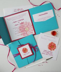 Gerber daisy invitations in turquoise and pink - getting handmade from a friend