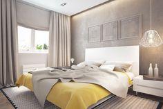 ropa de cama amarilla en el dormitorio al estilo minimalista