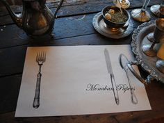 Knife Fork Spoon Paper Placemats  Wedding  by samplerscountry, $15.00