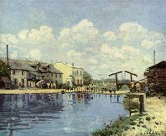 Alfred Sisley. Kanal. 1872, Öl auf Leinwand, 36 × 46 cm. Paris, Musée d'Orsay. Landschaftsmalerei. Frankreich. Impressionismus. KO 02157