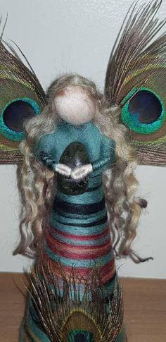 Labradarite fairy, Standing fairy, peacock feathers, Needle Felt Fairy, Waldorf Inspired, Fairy Decoration