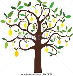 vector lemon tree - stock vector