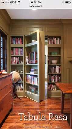 Hidden Door bookcase from a house on Daniel Island, SC – photo from Charleston Home & Design magazine Hidden Door bookcase from a house on Daniel Island, SC – photo from Charleston Home & Design magazine Secret Door Bookshelf, Bookcase Closet, Bookcase Door, Panic Rooms, Cool Bookshelves, Bookcases, Home Design Magazines, Charleston Homes, Safe Room