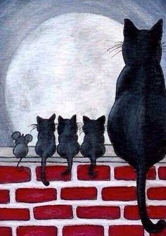 Details about Just Like Family Black Cat Kittens Fence Mice Mouse Friends- by BiHrLe Print - Animals I Love Cats, Crazy Cats, Cute Cats, Cat Quilt, Art Et Illustration, Cat Illustrations, Halloween Illustration, Cat Drawing, Drawing Base