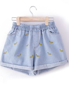 Light Blue Elastic Waist Bananas Embroidered Shorts US$13.33 Sarete miei prima o poi:(