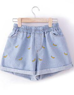Light Blue Elastic Waist Bananas Embroidered Shorts US$13.33 Sarete miei prima o poi:(
