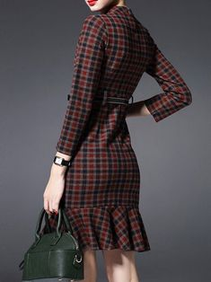 Multicolor Pockets Long Sleeve Checkered/Plaid Polyester Mini Dress