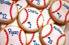 Baseball Cookie Party Favors Spring by WhimsicalOriginalsDB.. Perfect for end of the year baseball party
