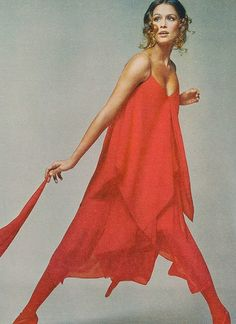 Lauren Hutton in a red handkerchief georgette dress by Bill Blass, photo by Avedon, Vogue US 1971.