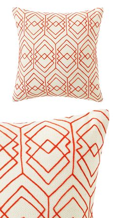 The Daria Accent Pillow could be everything you've been searching for-or perhaps exactly what you needed and didn't know. Such a festive pattern of embroidery in bold red over a texture-rich white cott...  Find the Daria Accent Pillow, as seen in the A Modern Bohemian Abode Collection at http://dotandbo.com/collections/a-modern-bohemian-abode?utm_source=pinterest&utm_medium=organic&db_sku=122710