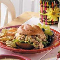 Pineapple Chicken Salad Sandwiches Recipe -These sandwiches are always welcome at lunchtime around our house. Sweet pineapple and crunchy pecans are nice additions to ordinary chicken salad. —Carol Alexander, Midland, Michigan