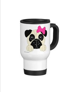Pug Travel Mug  Girl or Boy  Personalized by CCGirlsCorner on Etsy