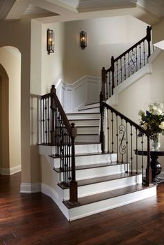 Mc Gregor Blvd - traditional - staircase - tampa - Wyman Stokes Builder LLC - Fox Home Design Staircase Remodel, Staircase Makeover, Staircase Railings, Staircases, Banisters, Stair Treads, Traditional Staircase, Traditional House, Traditional Design